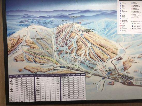 Chongli County, Chiny: Mappa delle piste e degli impianti di risalita del comprensorio di Thaiwoo, marzo 2019