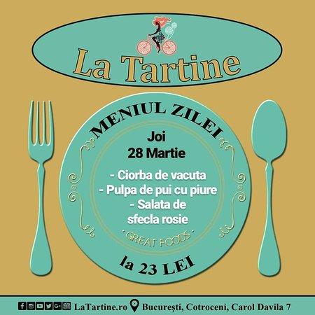 🍴 De la ora 12:00 vă așteptăm #LaTartine #Cotroceni cu #MeniulZilei (#Joi, 28 #Martie) la 23 lei: - Ciorba de vacuta - Pulpa de pui cu piure - Salata de sfecla rosie * în limita stocului disponibil   P.S. nu ratați cele mai delicioase #tartine, #FructeDeMare și #PIZZA #LaTartineCotroceni #Bucuresti