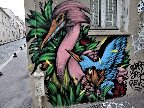 "Fresque ""Rose et bleu"""