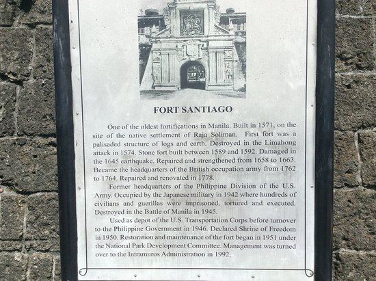 A plate how will give the story about Fort Santiago.