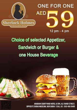 Enjoy appetizer, main course along with 1 house beverage only for AED 59 @Sherlock Holmes