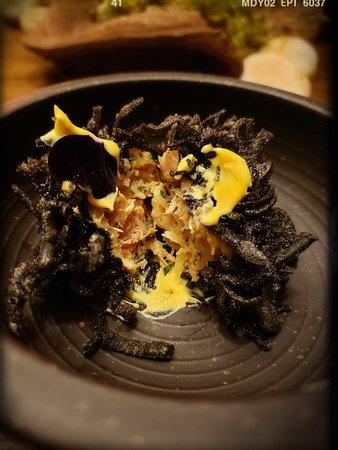 chicken, young squid, mustard emulsion