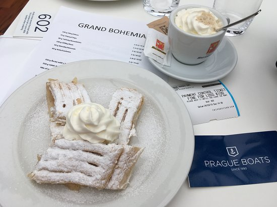 PRAGUE BOATS 2-hour Cruise: Vienna Coffee, Apple Strudel and the Payment Control Ticket threatening a fine of 100 Euro if lost. Still annoyed about that now!
