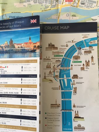 PRAGUE BOATS 2-hour Cruise: Trip Map (dark blue line) and guide ?!