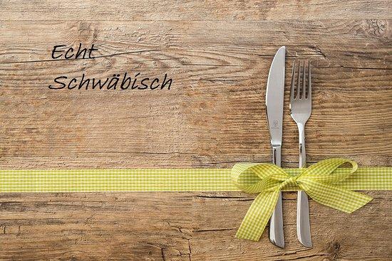 """Muehlhausen im Taele, เยอรมนี: Unser echt schwäbisches Angebot im April für Sie: Schwäbisches """"Schultesessen"""" Warmes Ragout von der Schweinehaxe  in würzigem Sud mit Bratkartoffeln EUR 9,50"""