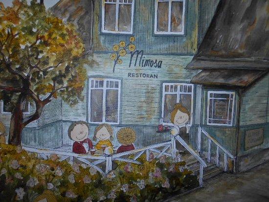Restoran Mimosa: Detaljbild från målningen i den övre våningen.