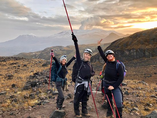 On day three, the sun rising behind us as we ascend towards the glacier of Santa Isabel!