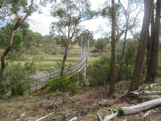Walk bridge across river top of the Apsley Falls.
