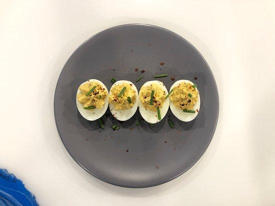 Meze Morada: Our twist on deviled eggs! A little bit spicy!