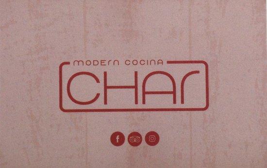 CHAR Modern cocina & grill: Het visitekaartje.