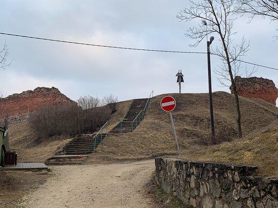 Ludza Medieval Castle Ruins: лестница на холм с руинами
