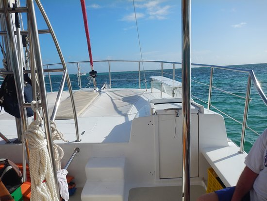 View to front of catamaran on our departure
