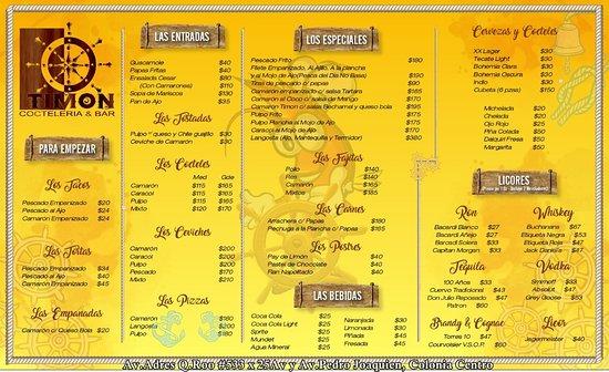 TIMON Cocteleria Bar en Cozumel es un nuevo edificio y restaurante de mariscos abiertos para todo publico en general. Contamos con Aire acondicionado & mesas al aire libre. Si buscan disfrutar de un rico platillo de mariscos y de un rico sabor somos el lugar correcto! Nuestros precios son verdaderamente accesibles y mejores que otros restaurantes en la isla de Cozumel. Estamos en la 11 avenida entre 25 & 30 #533 colonia centro.  LOS ESPERAMOS! (NO se necesita reservacion) /Telefonos:987 872 4495