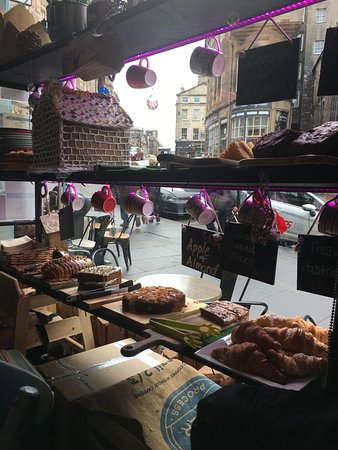 Cakes on display in the window