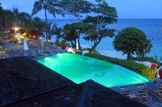 The pool deck in the evening