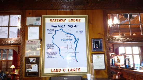 Gateway Lodge & Restaurant - Hwy B - Land O Lakes WI - historic Northwoods lodge - cozy lounge and bar