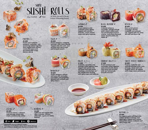 Chef inspired Sushi creations unique to Sumo!