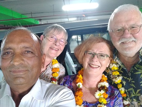 "Lotus India Holidays: My honorable guests Mr. Bodo Wieland, Mrs. Christl Wieland & Mrs. Frauke on Delhi airport ""with Mr. Ranbir Kadian on their March 2019 trip to India."""