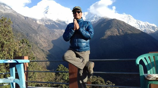 Mountain King Treks And Expedition: Doing Yoga at Chhomrong, on the way to Annapurna base camp