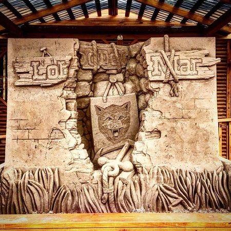 Visit our sand castle in front of Lobo Del Mar Cafe