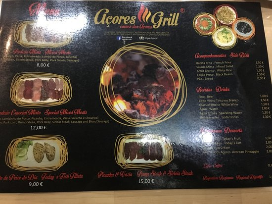 Menu showed pictures of the meats. Very low prices.