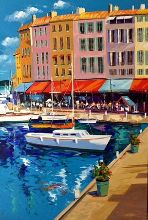 Galerie Porte Rouge: St-Tropez 48x72... Gorgeous Christian Bergeron's painting. It found its home in Florida.
