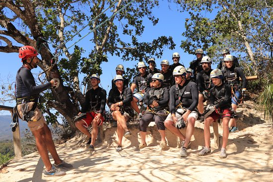 Puerto Vallarta Outdoor Adventure Zip Line and Speedboat Ride: Our safety briefing with our group