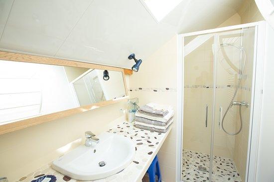 La Guerche-sur-l'Aubois, ฝรั่งเศส: La salle d'eau, douche à l'italienne, spacieuse