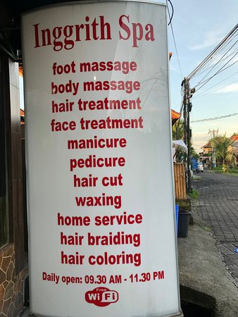 Great little place on Jl Bisma. Good prices too  They also offer hair services as well. Large team so wait time is limited. Very clean. Friendly staff