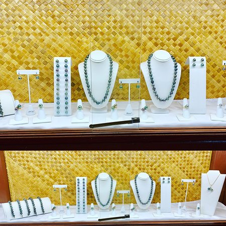 Showcases with lots of pearls.