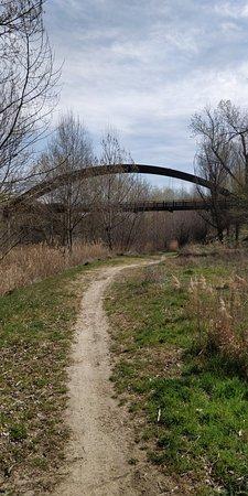 Wooden footbridge over the River Cega
