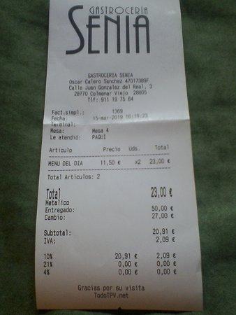 Menú del día 11,50€