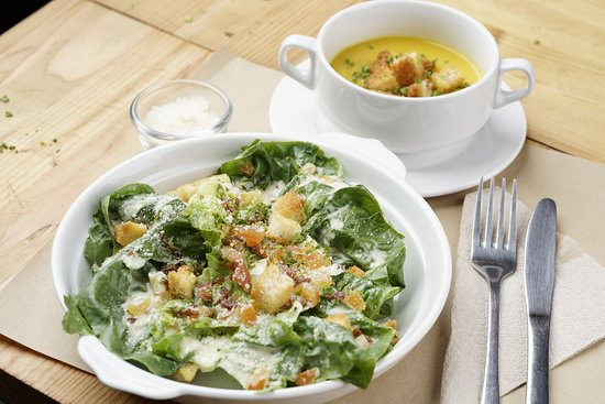 Caesar salad and pumpkin soup.. they go well together.