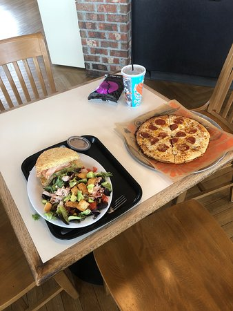 Schlotzsky's: Pick 2 salad and sandwich, and pepperoni pizza with chip and a drink.