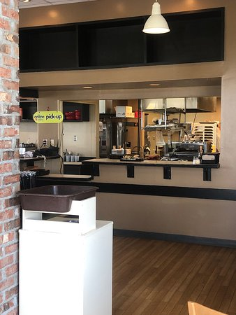 Schlotzsky's: Schlotzky's kitchen area as seen from the dining area.