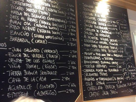 Restaurante Eslava: Wall menu