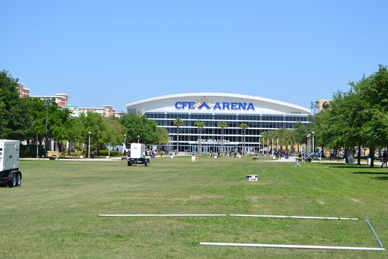 The great big lawn in front of the Arena.
