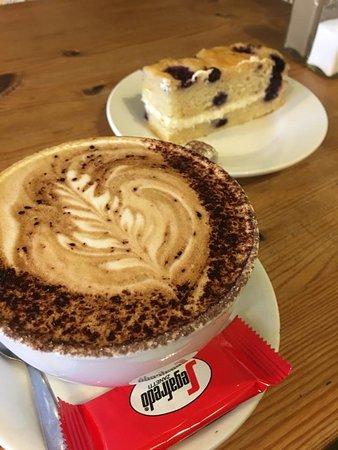 Cappuccino and vegan cake