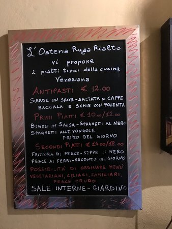 Antica Osteria Ruga Rialto: メニュー