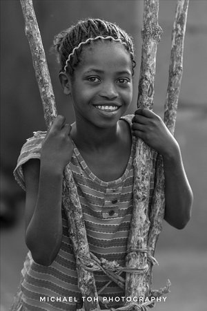 Portrait of a young girl in the Ari Village