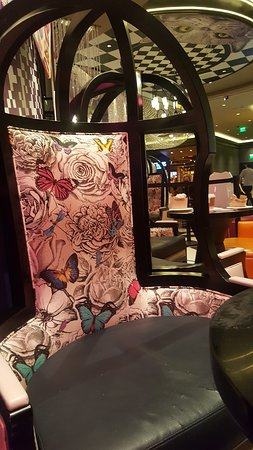 Alice in Wonderland themed common seating area