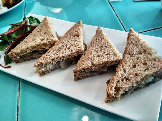 Rose Cafe: Mushroom, caramelized onion and goat cheese sandwich