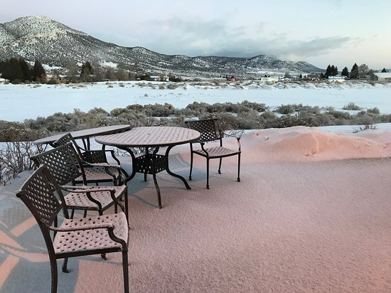 Nice patio to lounge in (when it is not snowing).