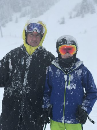 Les Gets Snowsports: My 10 year old son on his second year of learning with Pete on a v snowy ski lesson!