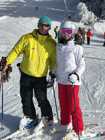 Les Gets Snowsports: First time skiing for my 13 year old daughter.  Had 3 days of instruction with LGS instructors and loved every minute!!  Pictured on a beautiful ski day with Pete.