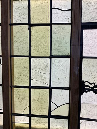 Original window panes preserved at the next floor of the house