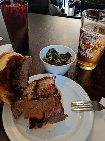 smoked brisket sandwich, collard greens, Millersburg light beer!  Yummy!