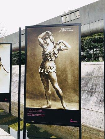 北側に「音楽と舞踏 ストラヴィンスキーとバレエ・リュス」の屋外展示有り