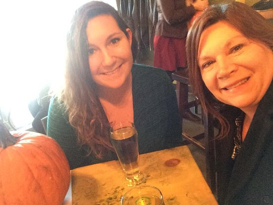 Enjoying our cider and pumpkins
