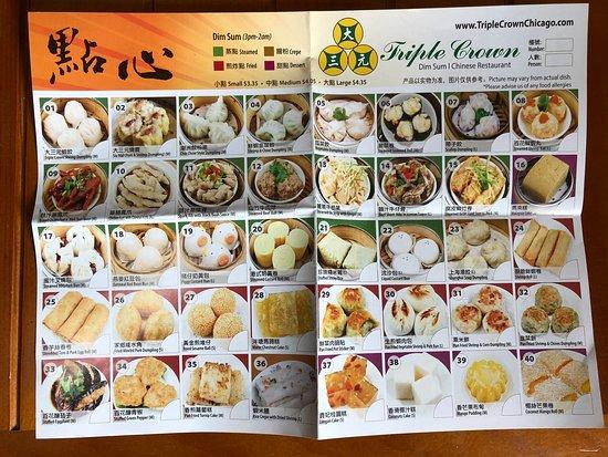 Triple Crown Restaurant: Dim sum menu